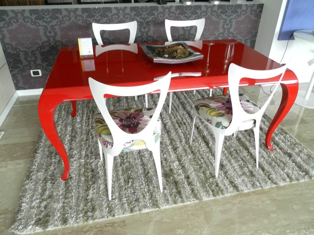 Linfa tavolo forma retro'laccato rosso in outlet da mobili salvati a castel san giorgio