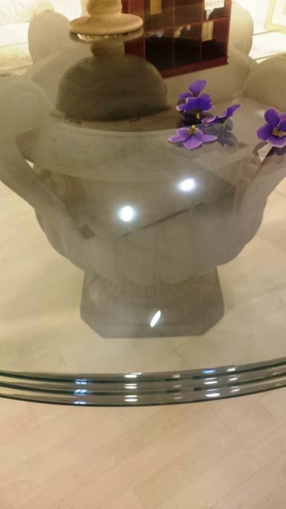 outlet mobili salvati-Ballarini - tavolo in terracotta con piano in vetro tripla molatura - mobili salvati - castel san giorgio - salerno